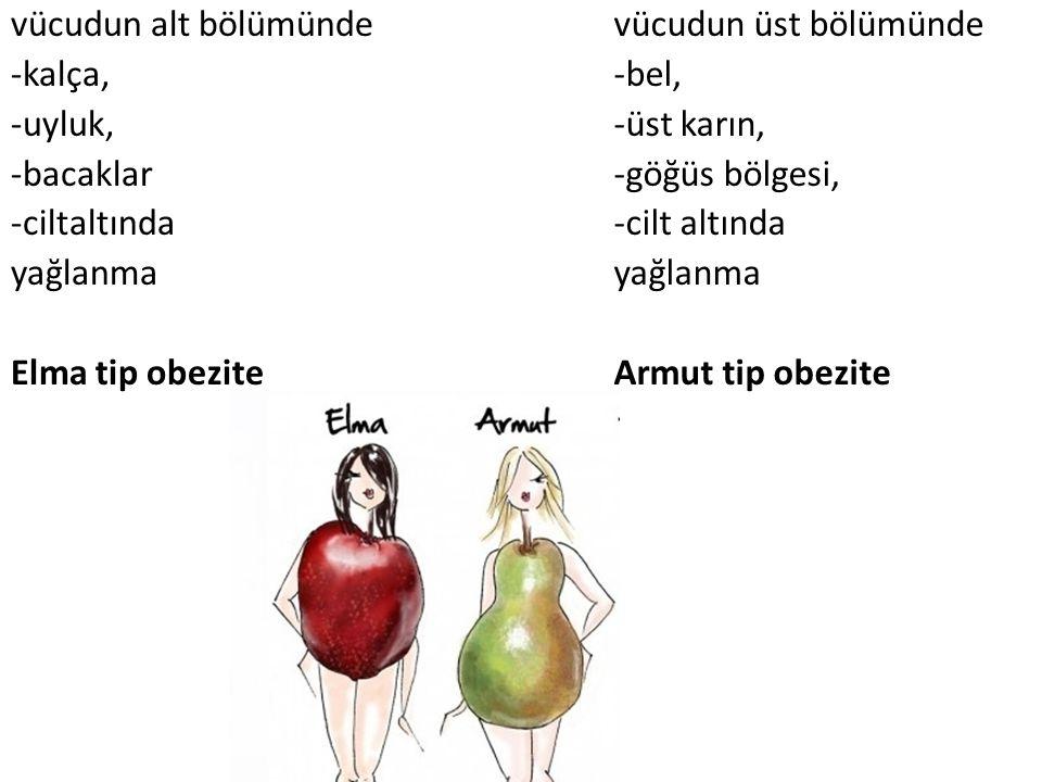 vücudun alt bölümünde -kalça, -uyluk, -bacaklar -ciltaltında yağlanma Elma tip obezite vücudun üst bölümünde -bel, -üst karın, -göğüs bölgesi, -cilt a