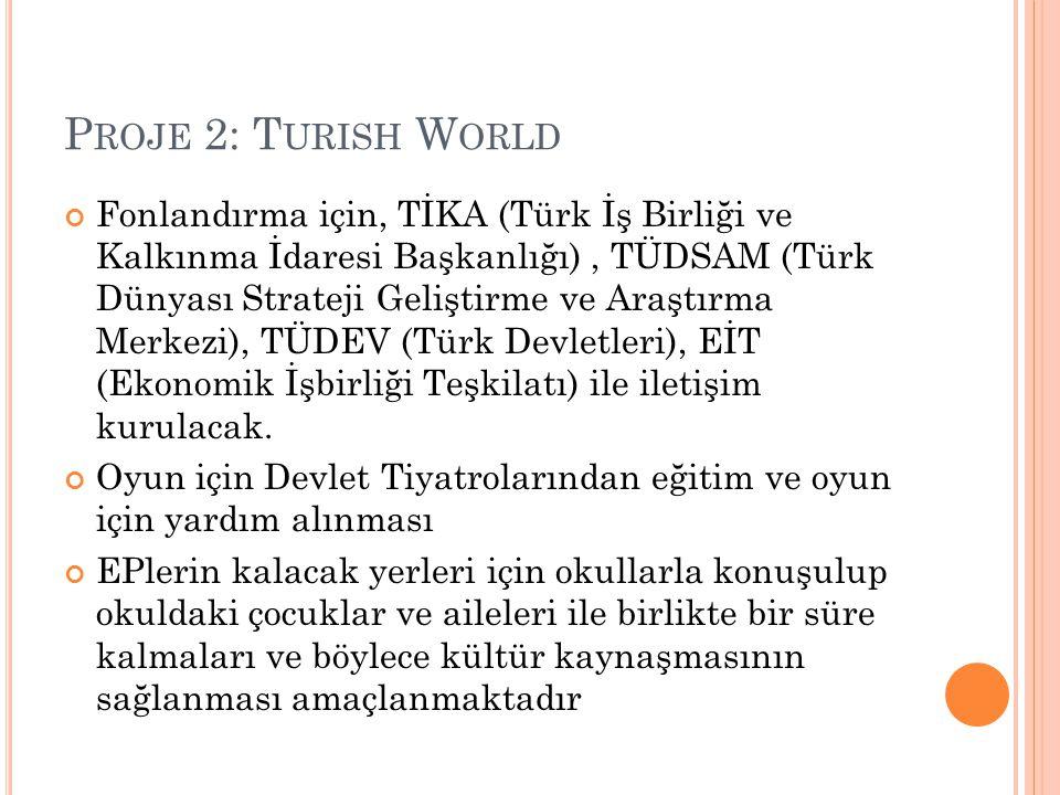 P ROJE 2: T URISH W ORLD Fonlandırma için, TİKA (Türk İş Birliği ve Kalkınma İdaresi Başkanlığı), TÜDSAM (Türk Dünyası Strateji Geliştirme ve Araştırm