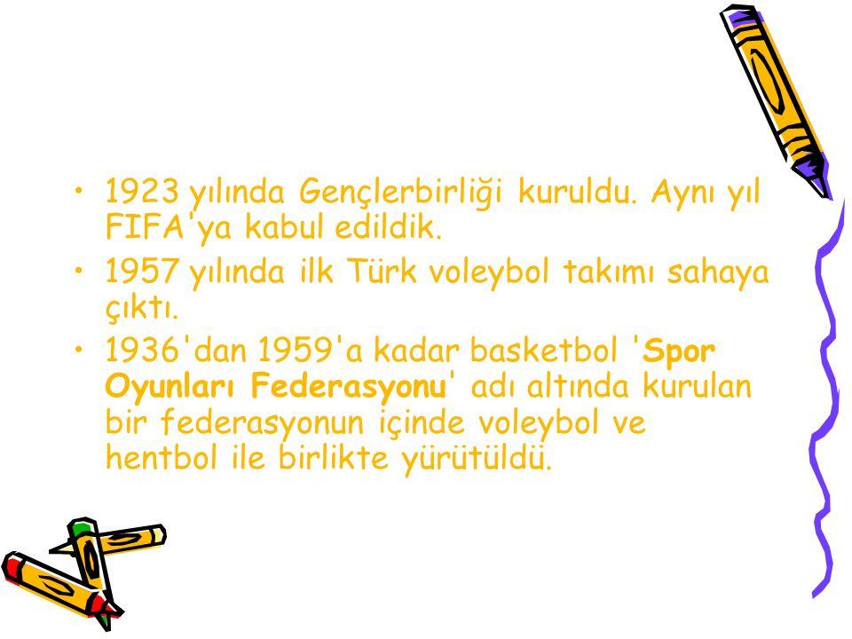 1923 yılında Gençlerbirliği kuruldu. Aynı yıl FIFA'ya kabul edildik. 1957 yılında ilk Türk voleybol takımı sahaya çıktı. 1936'dan 1959'a kadar basketb