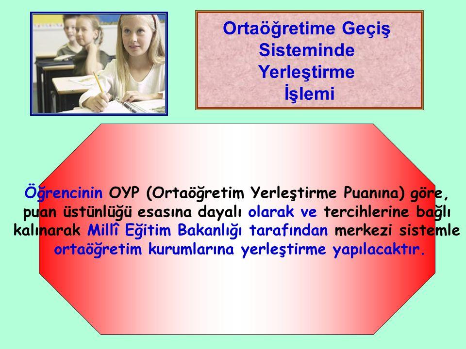 Ortaöğretime Geçiş Sisteminde Yerleştirme İşlemi Öğrencinin OYP (Ortaöğretim Yerleştirme Puanına) göre, puan üstünlüğü esasına dayalı olarak ve tercih