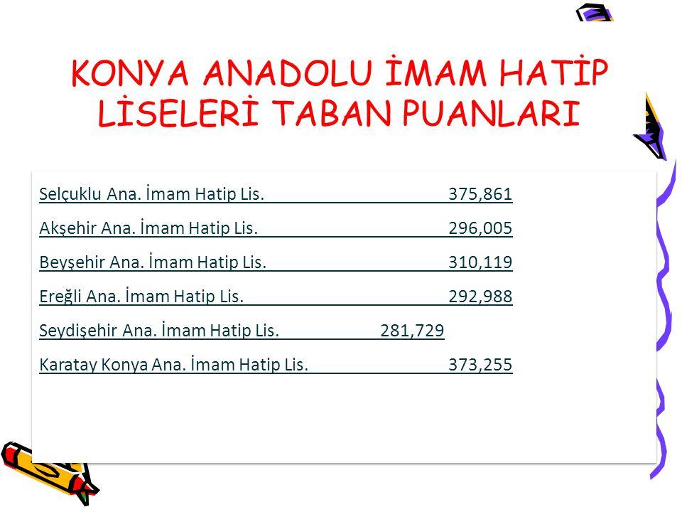 KONYA ANADOLU İMAM HATİP LİSELERİ TABAN PUANLARI Selçuklu Ana. İmam Hatip Lis. 375,861 Akşehir Ana. İmam Hatip Lis. 296,005 Beyşehir Ana. İmam Hatip L