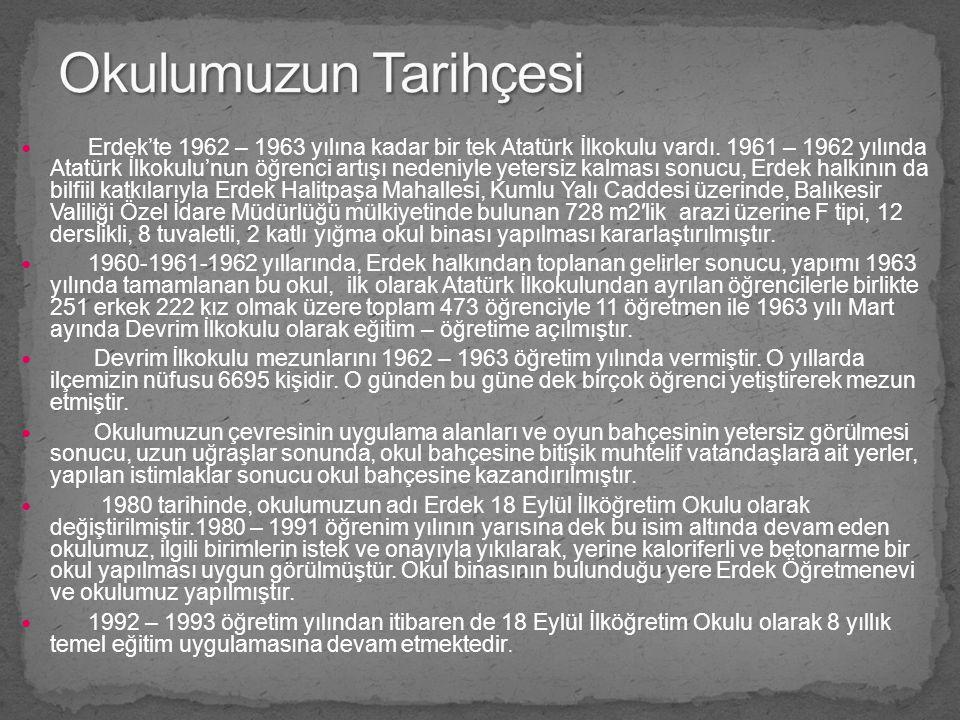 Erdek'te 1962 – 1963 yılına kadar bir tek Atatürk İlkokulu vardı. 1961 – 1962 yılında Atatürk İlkokulu'nun öğrenci artışı nedeniyle yetersiz kalması s