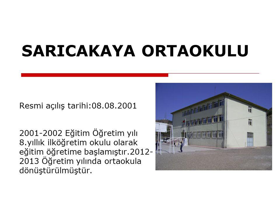 SARICAKAYA ORTAOKULU Resmi açılış tarihi:08.08.2001 2001-2002 Eğitim Öğretim yılı 8.yıllık ilköğretim okulu olarak eğitim öğretime başlamıştır.2012- 2