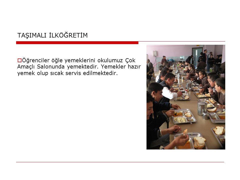 TAŞIMALI İLKÖĞRETİM  Öğrenciler öğle yemeklerini okulumuz Çok Amaçlı Salonunda yemektedir. Yemekler hazır yemek olup sıcak servis edilmektedir.