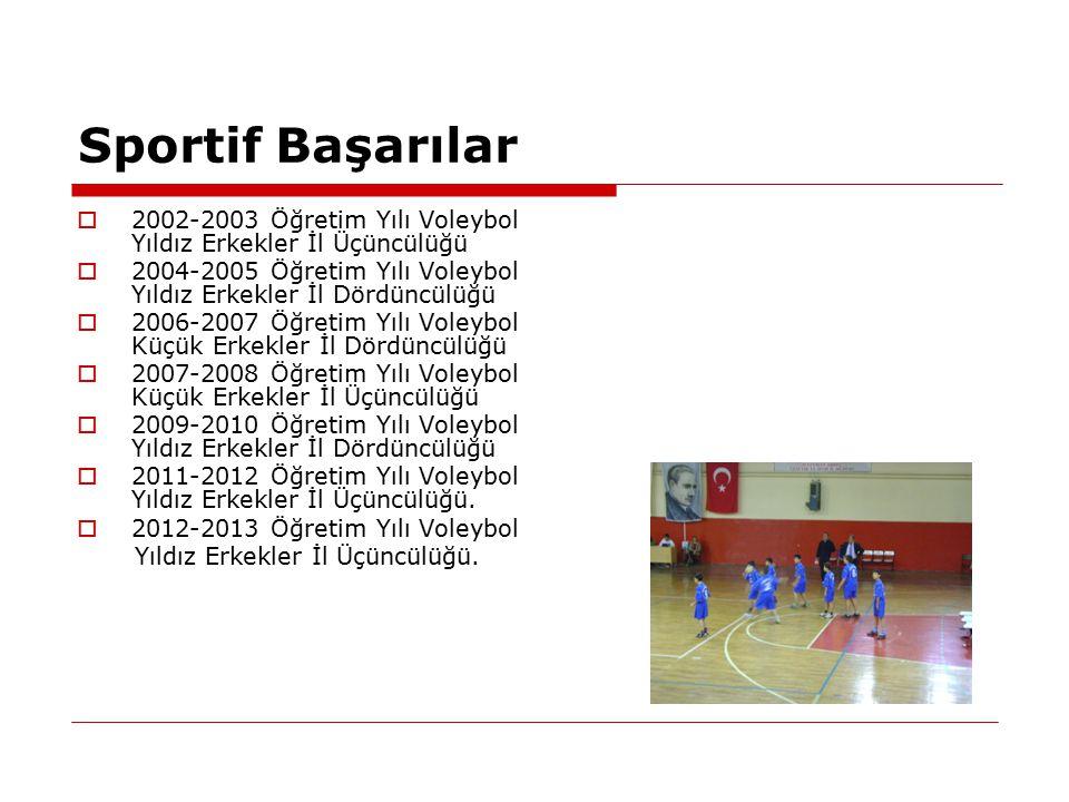 Sportif Başarılar  2002-2003 Öğretim Yılı Voleybol Yıldız Erkekler İl Üçüncülüğü  2004-2005 Öğretim Yılı Voleybol Yıldız Erkekler İl Dördüncülüğü 