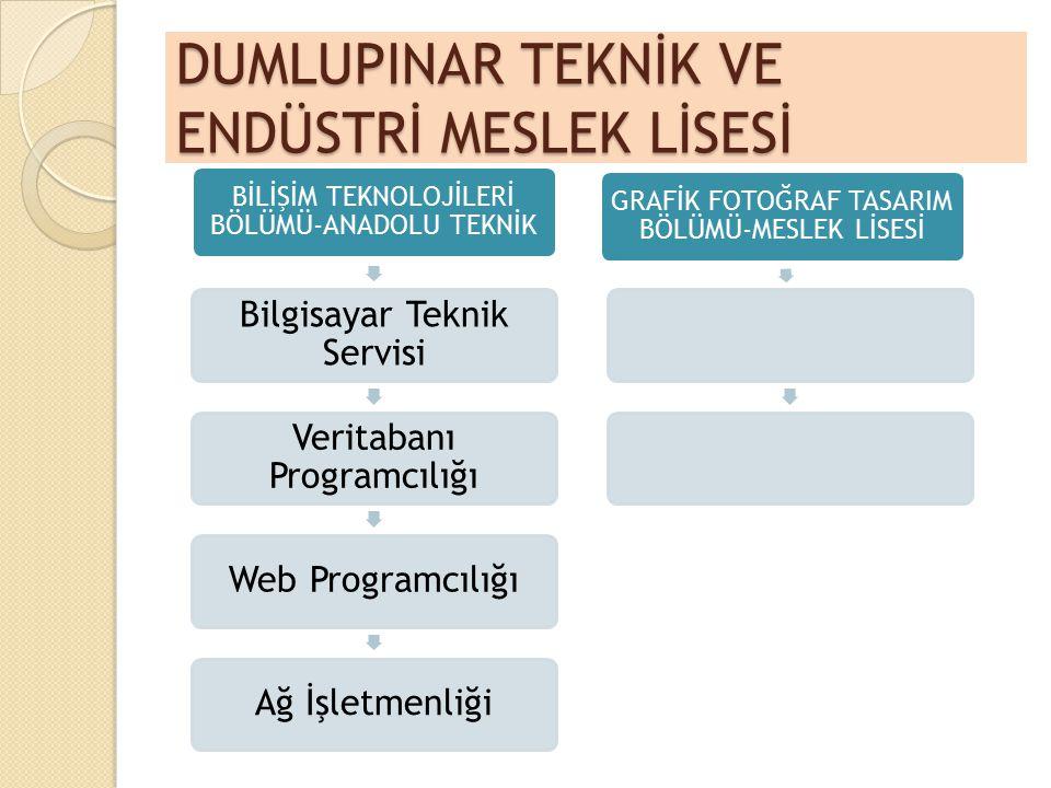 DUMLUPINAR TEKNİK VE ENDÜSTRİ MESLEK LİSESİ BİLİŞİM TEKNOLOJİLERİ BÖLÜMÜ-ANADOLU TEKNİK Bilgisayar Teknik Servisi Veritabanı Programcılığı Web Program