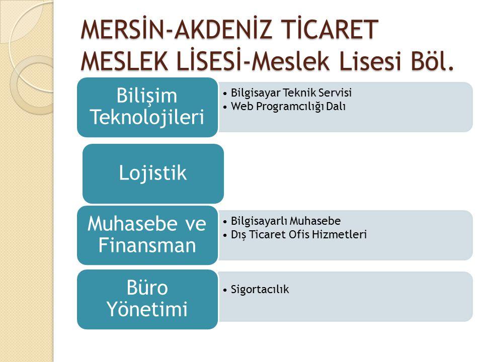 MERSİN-AKDENİZ TİCARET MESLEK LİSESİ-Meslek Lisesi Böl. Bilgisayar Teknik Servisi Web Programcılığı Dalı Bilişim Teknolojileri Lojistik Bilgisayarlı M