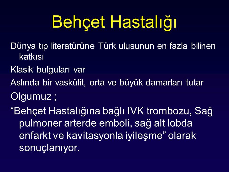 Behçet Hastalığı Dünya tıp literatürüne Türk ulusunun en fazla bilinen katkısı Klasik bulguları var Aslında bir vaskülit, orta ve büyük damarları tuta
