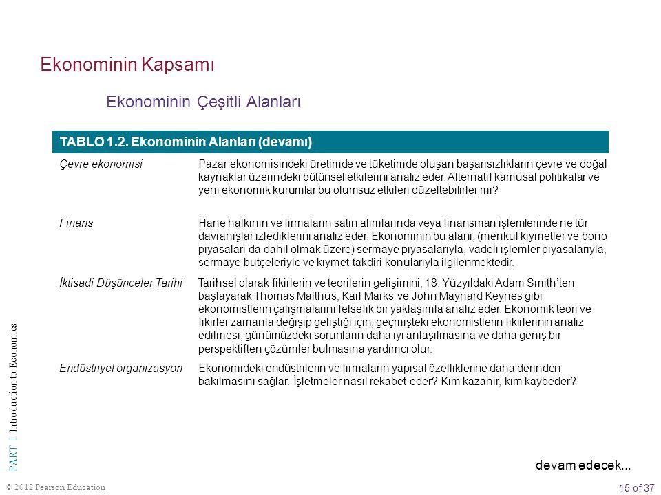15 of 37 PART I Introduction to Economics © 2012 Pearson Education Ekonominin Çeşitli Alanları Ekonominin Kapsamı TABLO 1.2. Ekonominin Alanları (deva
