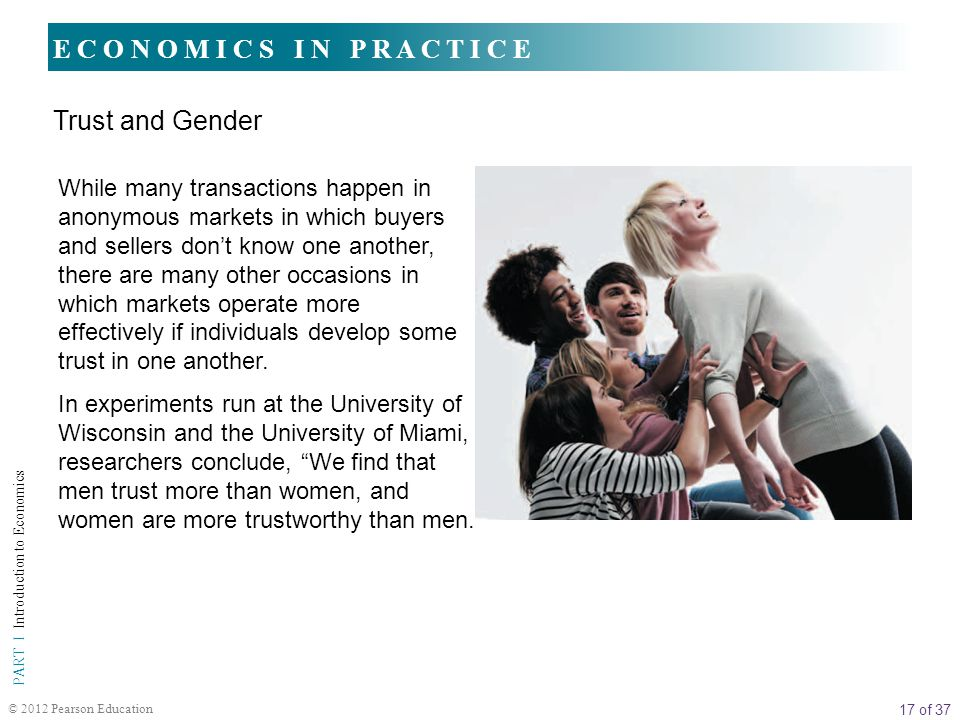17 of 37 PART I Introduction to Economics © 2012 Pearson Education E C O N O M I C S I N P R A C T I C E Trust and Gender While many transactions happ