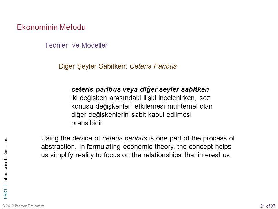 21 of 37 PART I Introduction to Economics © 2012 Pearson Education Diğer Şeyler Sabitken: Ceteris Paribus ceteris paribus veya diğer şeyler sabitken i