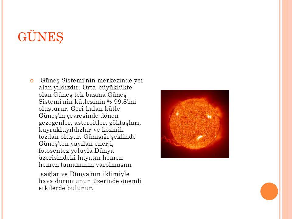 GÜNEŞ Güneş Sistemi nin merkezinde yer alan yıldızdır.