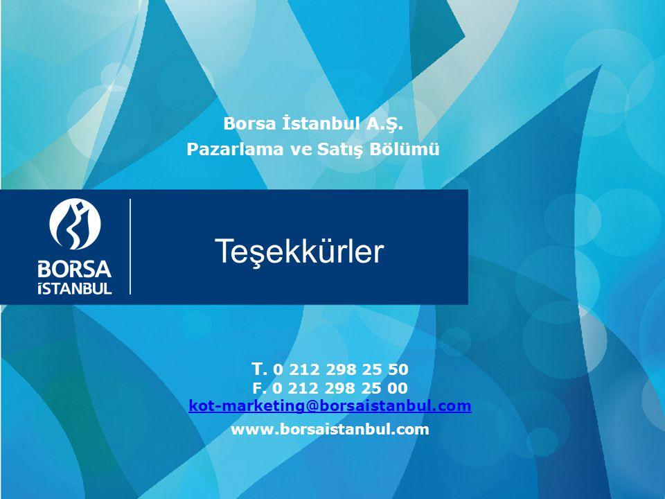 Teşekkürler T. 0 212 298 25 50 F. 0 212 298 25 00 kot-marketing@borsaistanbul.com kot-marketing@borsaistanbul.com www.borsaistanbul.com Borsa İstanbul