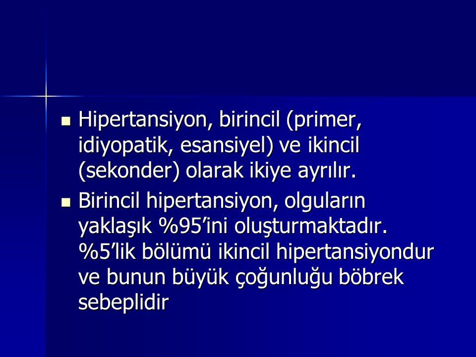 Hipertansiyon, birincil (primer, idiyopatik, esansiyel) ve ikincil (sekonder) olarak ikiye ayrılır. Hipertansiyon, birincil (primer, idiyopatik, esans