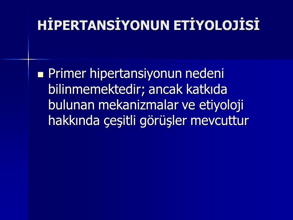HİPERTANSİYONUN ETİYOLOJİSİ Primer hipertansiyonun nedeni bilinmemektedir; ancak katkıda bulunan mekanizmalar ve etiyoloji hakkında çeşitli görüşler m
