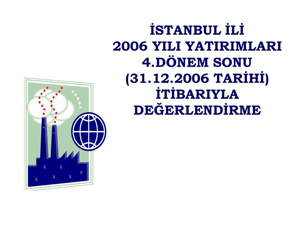İSTANBUL İLİ 2006 YILI YATIRIMLARI 4.DÖNEM SONU (31.12.2006 TARİHİ) İTİBARIYLA DEĞERLENDİRME