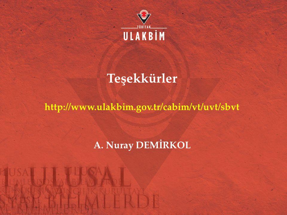 Teşekkürler http://www.ulakbim.gov.tr/cabim/vt/uvt/sbvt A. Nuray DEMİRKOL