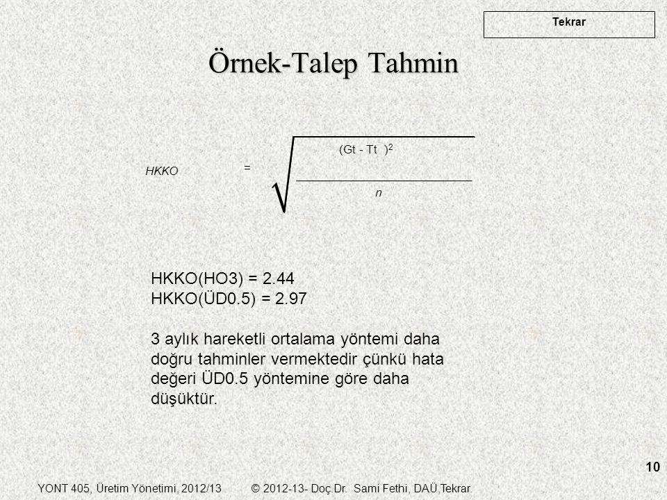 YONT 405, Üretim Yönetimi, 2012/13 © 2012-13- Doç.Dr. Sami Fethi, DAÜ,Tekrar. Tekrar 10 Örnek-Talep Tahmin (Gt - Tt ) 2 HKKO n = HKKO(HO3) = 2.44 HKKO