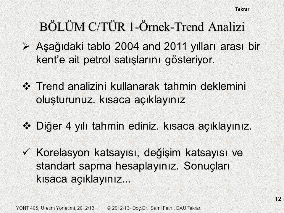 YONT 405, Üretim Yönetimi, 2012/13 © 2012-13- Doç.Dr. Sami Fethi, DAÜ,Tekrar. Tekrar 12 BÖLÜM C/TÜR 1-Örnek-Trend Analizi  Aşağıdaki tablo 2004 and 2