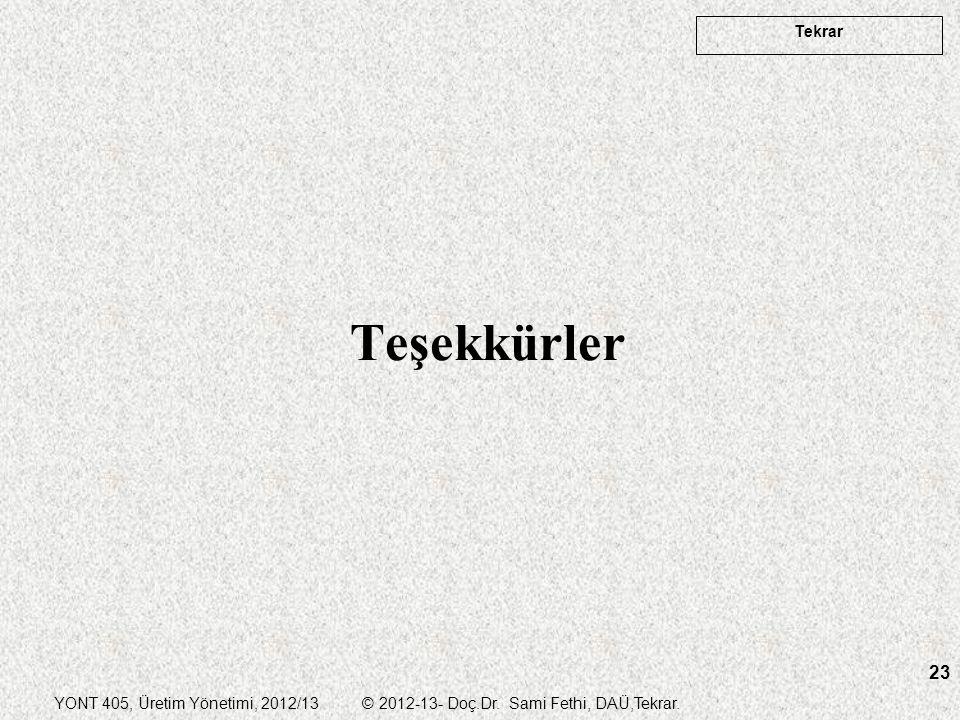 YONT 405, Üretim Yönetimi, 2012/13 © 2012-13- Doç.Dr. Sami Fethi, DAÜ,Tekrar. Tekrar 23 Teşekkürler