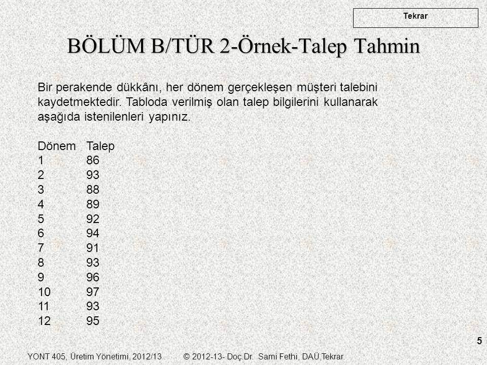 YONT 405, Üretim Yönetimi, 2012/13 © 2012-13- Doç.Dr. Sami Fethi, DAÜ,Tekrar. Tekrar 5 BÖLÜM B/TÜR 2-Örnek-Talep Tahmin Bir perakende dükkânı, her dön