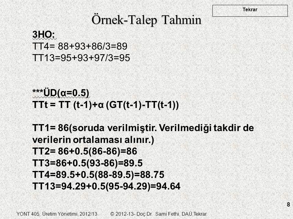 YONT 405, Üretim Yönetimi, 2012/13 © 2012-13- Doç.Dr. Sami Fethi, DAÜ,Tekrar. Tekrar 8 Örnek-Talep Tahmin 3HO: TT4= 88+93+86/3=89 TT13=95+93+97/3=95 *