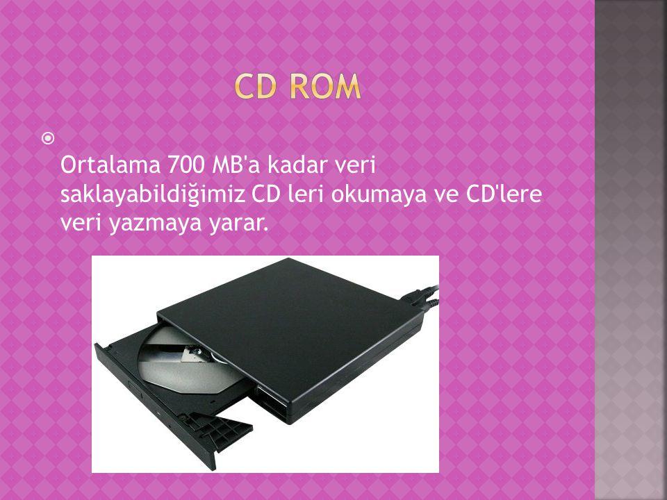  Ortalama 700 MB a kadar veri saklayabildiğimiz CD leri okumaya ve CD lere veri yazmaya yarar.