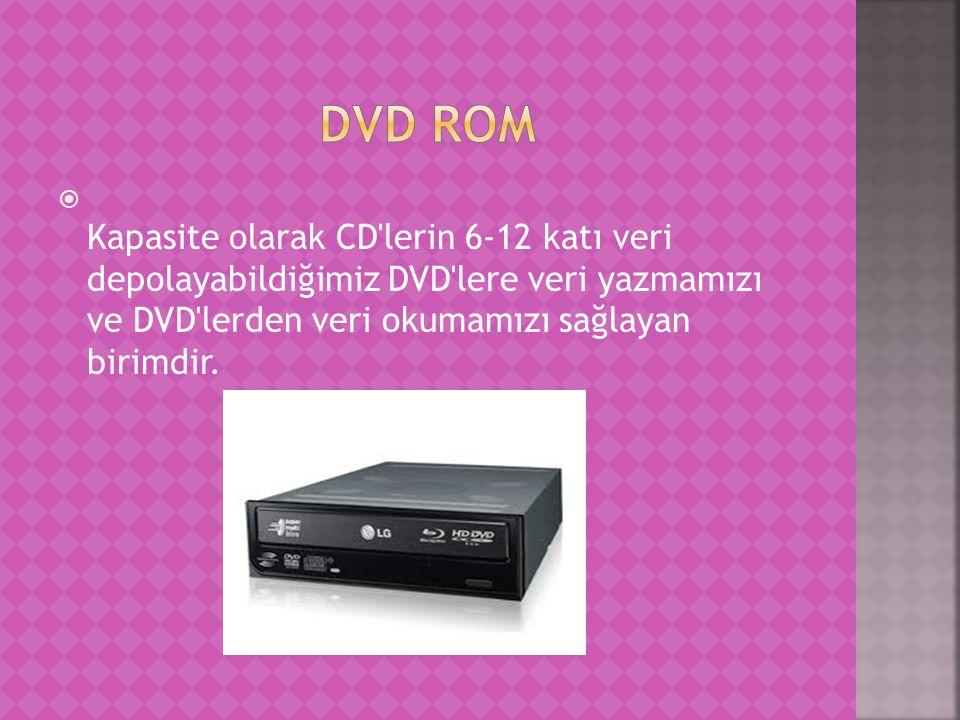  Kapasite olarak CD lerin 6-12 katı veri depolayabildiğimiz DVD lere veri yazmamızı ve DVD lerden veri okumamızı sağlayan birimdir.