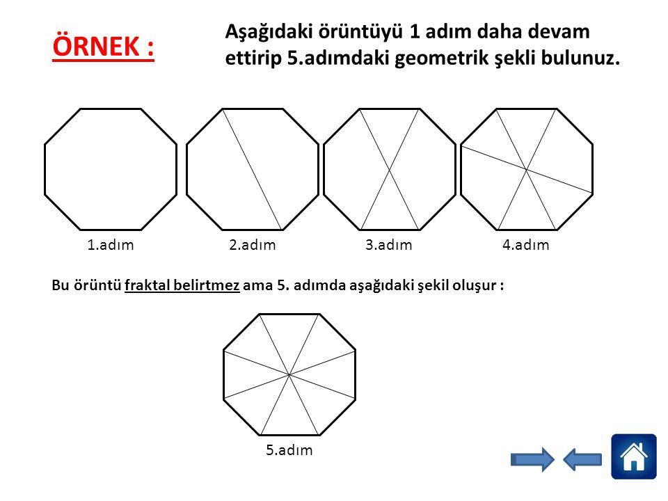 Aşağıdaki örüntüyü 1 adım daha devam ettirip 5.adımdaki geometrik şekli bulunuz. 1.adım 2.adım3.adım4.adım Bu örüntü fraktal belirtmez ama 5. adımda a
