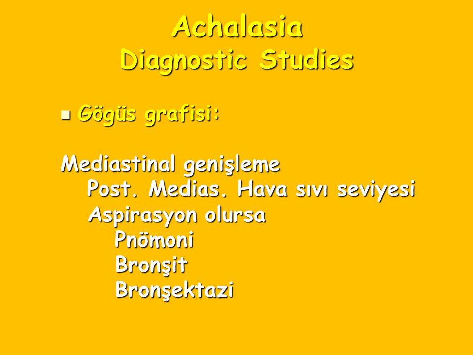 Achalasia Diagnostic Studies Gögüs grafisi: Gögüs grafisi: Mediastinal genişleme Post. Medias. Hava sıvı seviyesi Post. Medias. Hava sıvı seviyesi Asp
