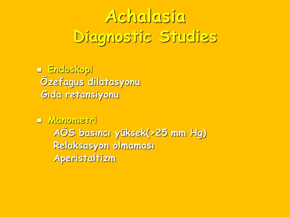 Achalasia Diagnostic Studies Endoskopi Endoskopi Özefagus dilatasyonu Özefagus dilatasyonu Gıda retansiyonu Gıda retansiyonu Manometri Manometri AÖS b