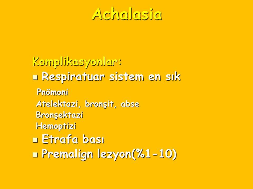 Achalasia Komplikasyonlar: Respiratuar sistem en sık Respiratuar sistem en sık Pnömoni Pnömoni Atelektazi, bronşit, abse Atelektazi, bronşit, abse Bro