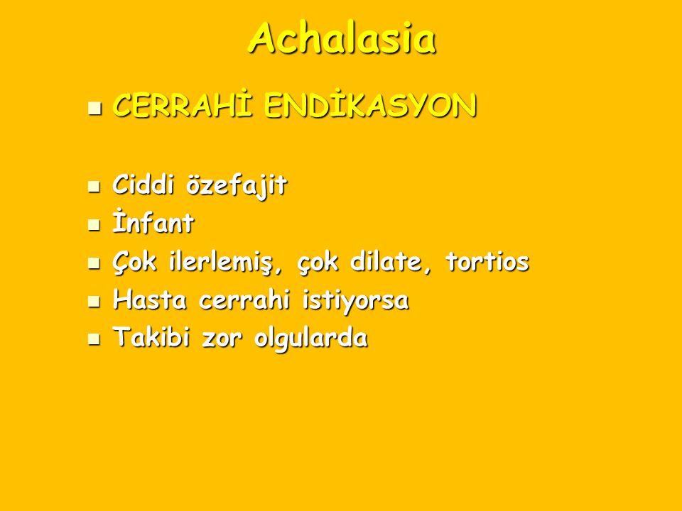 Achalasia CERRAHİ ENDİKASYON CERRAHİ ENDİKASYON Ciddi özefajit Ciddi özefajit İnfant İnfant Çok ilerlemiş, çok dilate, tortios Çok ilerlemiş, çok dila