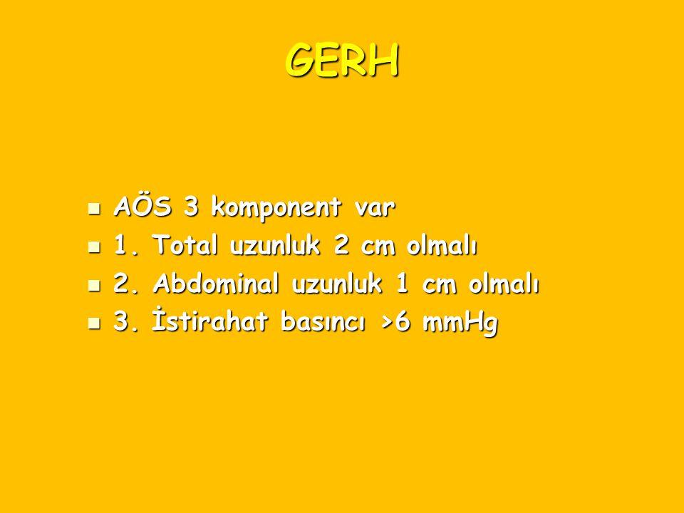 GERH AÖS 3 komponent var AÖS 3 komponent var 1. Total uzunluk 2 cm olmalı 1. Total uzunluk 2 cm olmalı 2. Abdominal uzunluk 1 cm olmalı 2. Abdominal u