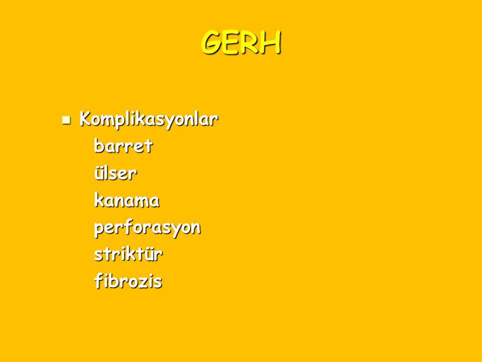 GERH Komplikasyonlar Komplikasyonlar barret barret ülser ülser kanama kanama perforasyon perforasyon striktür striktür fibrozis fibrozis