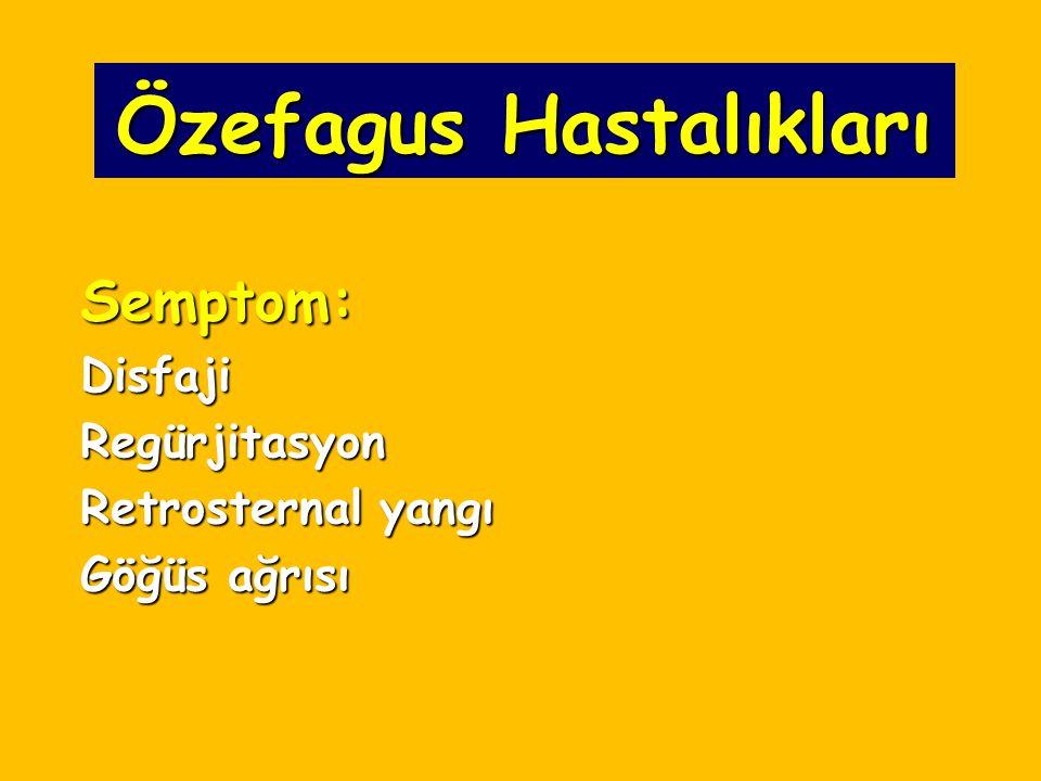 Özefagus Hastalıkları Semptom:DisfajiRegürjitasyon Retrosternal yangı Göğüs ağrısı