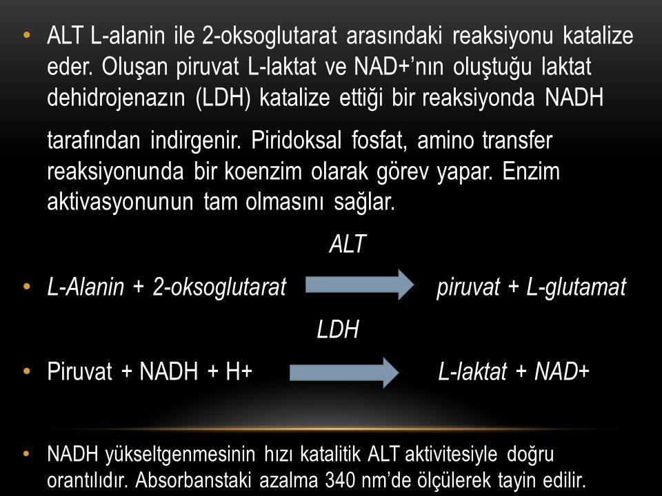 ALT L-alanin ile 2-oksoglutarat arasındaki reaksiyonu katalize eder. Oluşan piruvat L-laktat ve NAD+'nın oluştuğu laktat dehidrojenazın (LDH) katalize