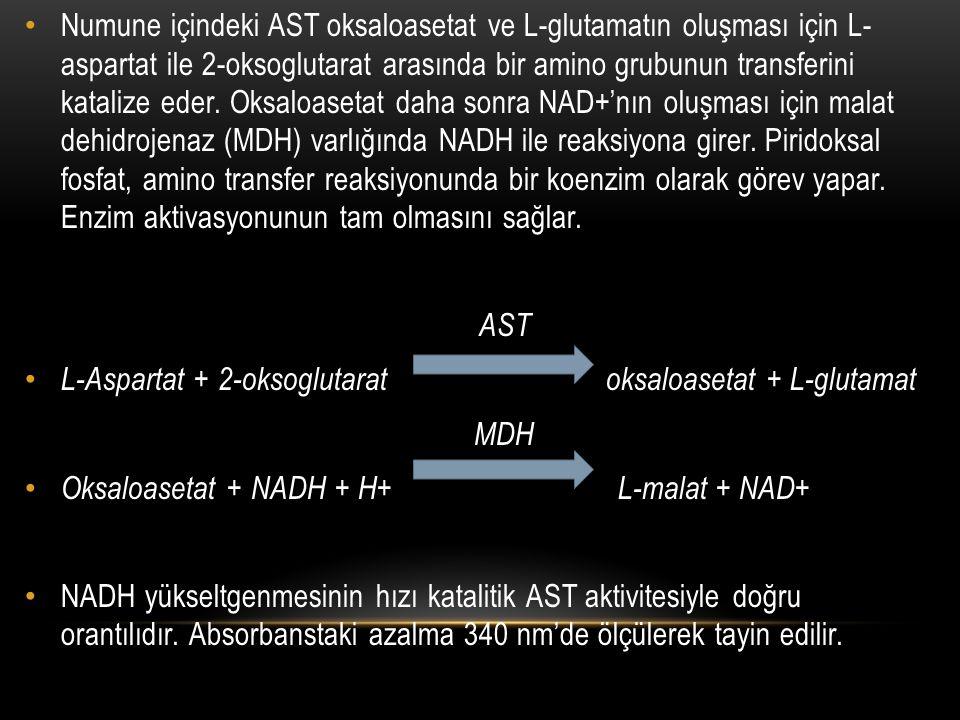 Numune içindeki AST oksaloasetat ve L-glutamatın oluşması için L- aspartat ile 2-oksoglutarat arasında bir amino grubunun transferini katalize eder. O