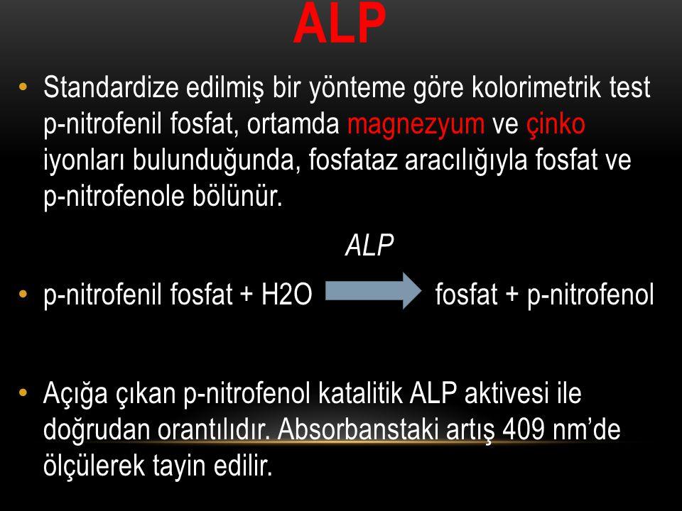 ALP Standardize edilmiş bir yönteme göre kolorimetrik test p-nitrofenil fosfat, ortamda magnezyum ve çinko iyonları bulunduğunda, fosfataz aracılığıyl