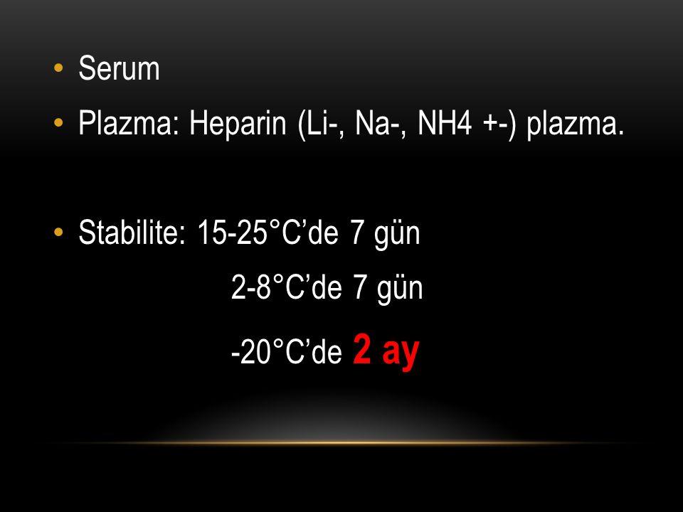 Serum Plazma: Heparin (Li-, Na-, NH4 +-) plazma. Stabilite: 15-25°C'de 7 gün 2-8°C'de 7 gün -20°C'de 2 ay