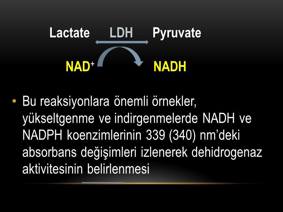 Bu reaksiyonlara önemli örnekler, yükseltgenme ve indirgenmelerde NADH ve NADPH koenzimlerinin 339 (340) nm'deki absorbans değişimleri izlenerek dehid