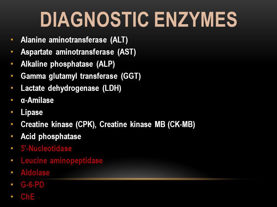 DIAGNOSTIC ENZYMES Alanine aminotransferase (ALT)  Aspartate aminotransferase (AST)  Alkaline phosphatase (ALP)  Gamma glutamyl transferase (GGT) 