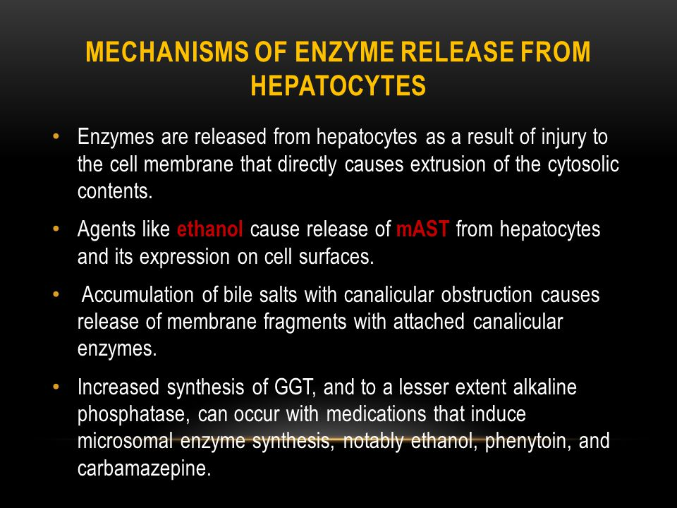 MECHANISMS OF ENZYME RELEASE FROM HEPATOCYTES Enzymes are released from hepatocytes as a result of injury to the cell membrane that directly causes extrusion of the cytosolic contents.