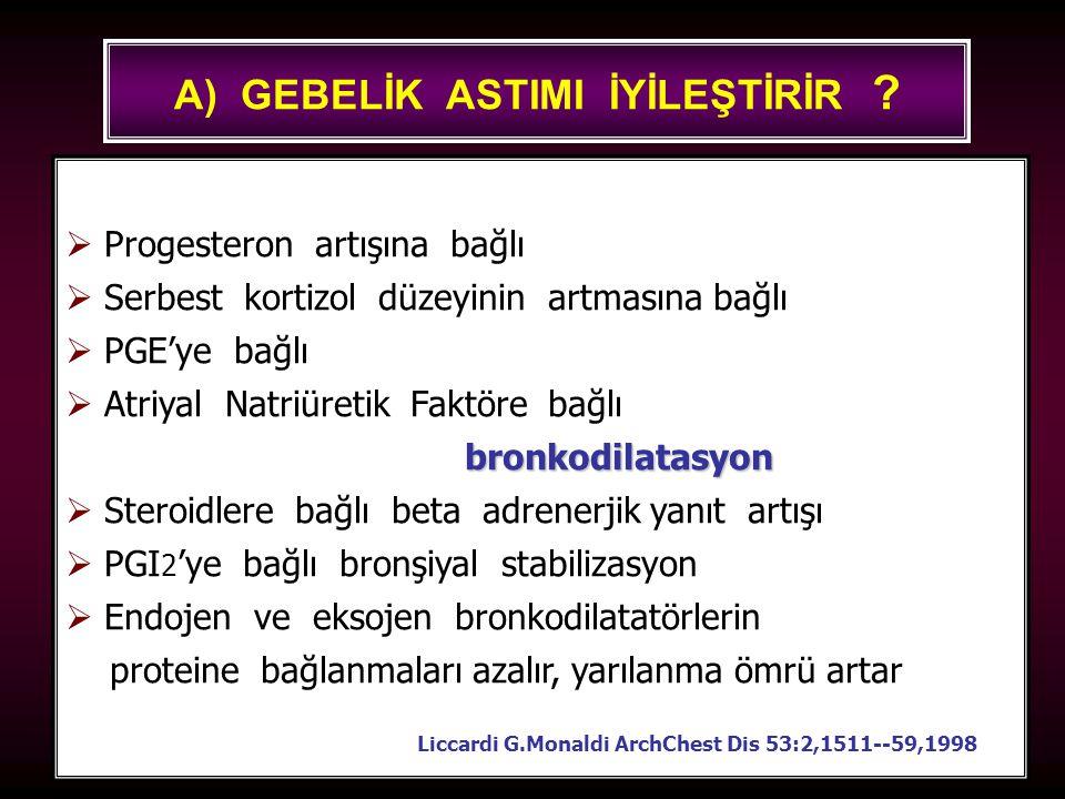 100 A) GEBELİK ASTIMI İYİLEŞTİRİR ?  Progesteron artışına bağlı  Serbest kortizol düzeyinin artmasına bağlı  PGE'ye bağlı  Atriyal Natriüretik Fak
