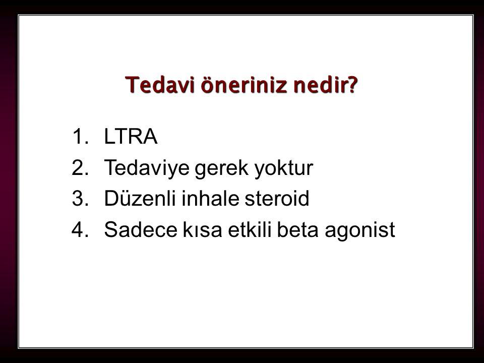 114 1.LTRA 2.Tedaviye gerek yoktur 3.Düzenli inhale steroid 4.Sadece kısa etkili beta agonist Tedavi öneriniz nedir?