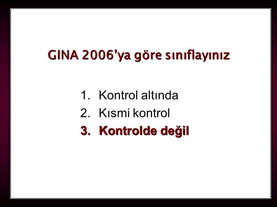 121 1.Kontrol altında 2.Kısmi kontrol 3.Kontrolde değil GINA 2006'ya göre sınıflayınız