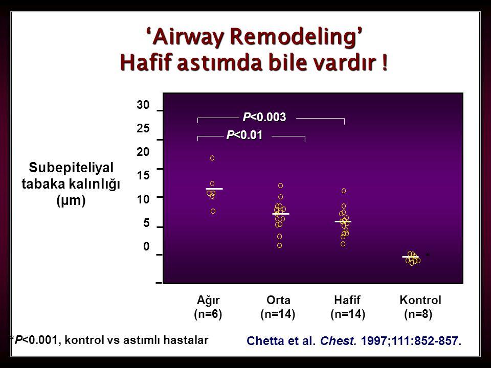 20 Chetta et al. Chest. 1997;111:852-857. 'Airway Remodeling' Hafif astımda bile vardır ! *P<0.001, kontrol vs astımlı hastalar * Ağır Orta Hafif Kont