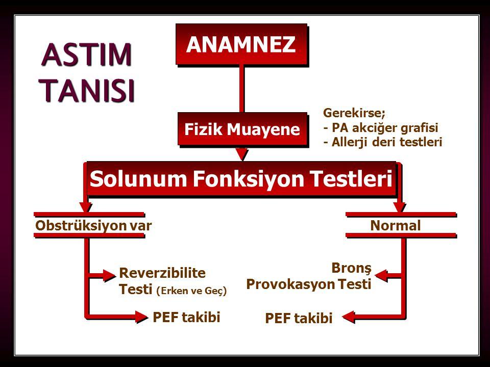 24 ANAMNEZ Solunum Fonksiyon Testleri Gerekirse; - PA akciğer grafisi - Allerji deri testleri Obstrüksiyon varNormal Reverzibilite Testi (Erken ve Geç) PEF takibi Bronş Provokasyon Testi PEF takibi ASTIM TANISI Fizik Muayene