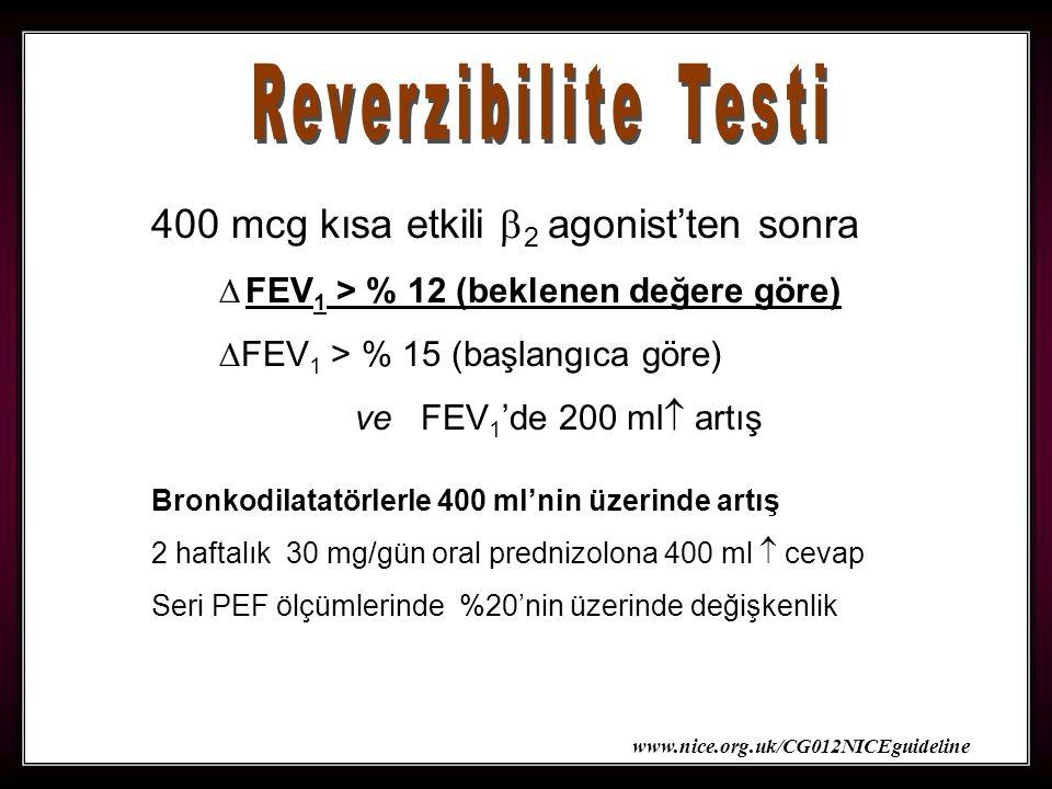 30 400 mcg kısa etkili  2 agonist'ten sonra  FEV 1 > % 12 (beklenen değere göre)  FEV 1 > % 15 (başlangıca göre) ve FEV 1 'de 200 ml  artış Bronkodilatatörlerle 400 ml'nin üzerinde artış 2 haftalık 30 mg/gün oral prednizolona 400 ml  cevap Seri PEF ölçümlerinde %20'nin üzerinde değişkenlik www.nice.org.uk/CG012NICEguideline