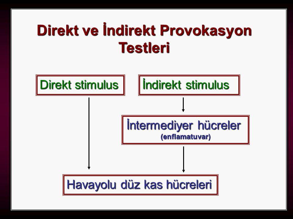 31 Direkt ve İndirekt Provokasyon Testleri İndirekt stimulus Direkt stimulus Havayolu düz kas hücreleri İntermediyer hücreler (enflamatuvar)